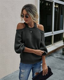 Wholesale cold jumper resale online - Womens Loose Pullover Knit Jumper Cold Shoulder Oversized Sweaters Long Sleeve Chunky Knitted Tunic Tops S XL Colors