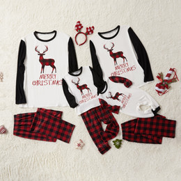 father christmas suits UK - 2020 Autumn Christmas Parent-Child Matching Outfit Set Plaid Long-Sleeve Suit Deer Printed Leisure Tops