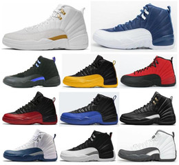 juegos de pelotas de baloncesto al por mayor-12 University Gold Stone Blue Dark Concord Ovo White Basketball Zapatillas de baloncesto Men s Game Reverse Gripe Juego Taxi Playoff French Blue Cherry Sneakers