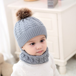 toddler boys sun hats UK - 2PCS Toddler Baby Knit Hat Scarf Winter Warm Beanie Cap with Circle Loop Scarf Neckwarmer Girls Boys Winter Knitted Hat and Scarf Set