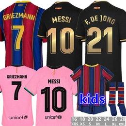Toptan satış YENİ 20 21 Futbol Jersey ANSU FATI F.DE JONG 17 Griezmann 2020 2021 COUTINHO SUAREZ MALCOM PIQUE VIDAL Barcelona futbol gömlek