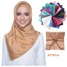 handkerchief headband 2021 - Solid Color Satin Square Scarves Women Muslim Hijab Headscarf Faux Silk Handkerchief foulard femme musulman Headband 90X90CM
