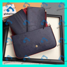Discount floral womens wallets womens black bags women purse chain bags three-piece leather classic wallet card bag shoulder bag Messenger bags Ladies