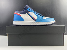 Wholesale tri day for sale – custom 2020 OG s low white blue red basketball Skateboard Shoes With Added Tri Color Ribbons Men Fashion Comfortable Trainer Sneakers CV4892