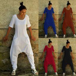 Wholesale pant back pocket for sale – dress Women Plus Size Loose Jumpsuits Harem Pants O Neck Open Back Short Sleeve Pockets Playsuits One Piece Romper For Ladies XL Y200904