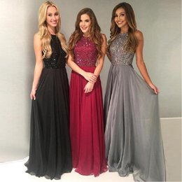 Wholesale beautiful tops images for sale – custom Beautiful Black Red Jewel Top Beaded Chiffon Prom Dresses Floor Length Long Gorgeous Evening Gowns Cheap Plus Size Arabic Formal Party