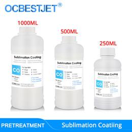 Venta al por mayor de Recubrimiento de sublimación para tazas de tela de algodón Tazas de vidrio Cerámica Metal de madera Sublimación de sublimación Líquido de pretratamiento (3 opciones de capacidad)
