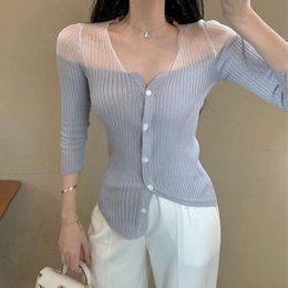 Wholesale one size sweater for sale - Group buy Korean style Mesh Sexy slim cardigan T Shirt Women Best Quality Autumn Irregular Thin Sweater One size