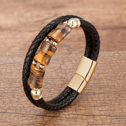 blue tigers eye bracelet NZ - 100% Tiger Eye Chakra jewelry charm stainless steel genuine leather for men Wholesale Natural Stone bracelet