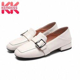 KemeKiss 2020 Women Leather Flats Casual Fashion Loafers Shoes Women Outdoor Metal Buckle Office Woman Footwear Size 32 42 Mens Boots wm0Z#