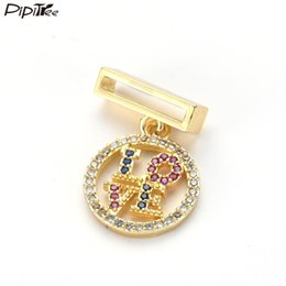 copper jewelry wholesale Australia - Pipitree Copper Cubic Zirconia LOVE Letter Charms for Women Mesh Bracelet Jewelry Making DIY Slider Round Charms Accessories