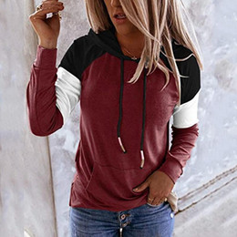 Wholesale pullover tunic for sale – custom Womens Hoodie Sweatshirt Casual Pullover Tunic Top Long Sleeve Sweatshirts Oversized Patchwork Hoodies Loose Hooded Sweatshirt