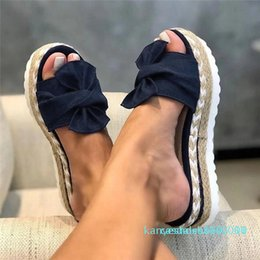 thick platform flip flops UK - Summer Flip Flops Women Slippers Bow Platform Sandals Ladoes Thick Bottom Wedges Slippers Casual Shoes Sandalias de mujer k10
