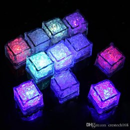 night glowing plastic UK - 2 .7cm Plastic Led Ice Cubes Party Decoration Water Sensor Sparkling Luminous Artificial Glowing Light Wedding Bar Flash Led Night Lights