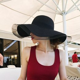 hats sun protection face cover UK - WBftN Hepburn black straw stitching mesh straw hat women's summer sun protection face covering seaside travel foldable beach hat