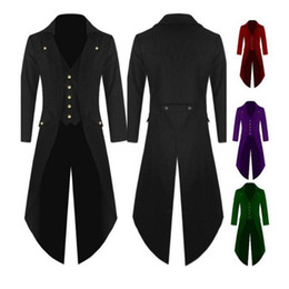european wedding tuxedo NZ - Men Solid Color Retro Gothic Button Tailcoat-Tuxedo Party Halloween Costume Men-Tuxedos Dress Classic Black Tail Coat Wedding
