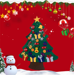 christmas tree posters UK - DIY Felt 3D Christmas Tree Ornaments Kids Toys Xmas Door Wall Sticker Posters Hanging with Detachable Accessories Home Decorations D91402