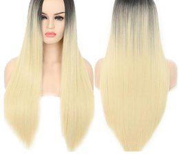 halloween lace wig NZ - Wigs For Black Women Straight Synthetic Lace Front Hair Extention 613 Ombre Lace Front Wig Cosplay Blonde Lace Front Wig