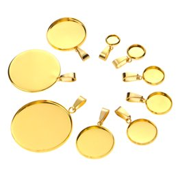 gold pendant trays Australia - 10pcs Gold Stainless Steel Bases 6 8 10 12 14 16 18 20 25 30mm Cabochon Cameo Base Tray Bezel Blank Necklace Pendant DIY Jewelry