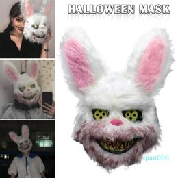 plush toy animal heads NZ - New Animal Bunny Head Prank Evil Bloody Rabbit Scary Mascara Pvc Plush Toy Horror Killer Anonymous White Mask for Kids Adults Gift