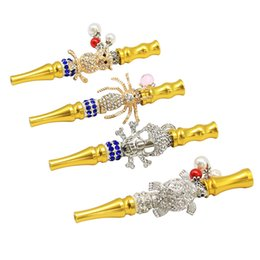 metal skull smoking pipes 2021 - Golden Hookah Smoking Pipes Animal & Skull with Pendant Portable Removable Metal Filter Water Pipe Ex-factory UPS Expres