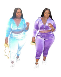 Wholesale clothing plus sizes resale online - Plus Size Women Clothing Set Casual Velvet Solid Color Long Sleeve Hooded Crop Top Pants Sets Plus Size Women Two Piece Outfits