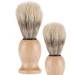 Großhandel Nylon Massivholz Bartbürste Mann Männliche Borsten Rasur Werkzeug Rasierpinsel Duschraumzubehör sauber 5wm N2