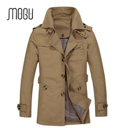 Wholesale men khaki trench jackets resale online - MOGU New Arrival Fashion Trench Coat Men Plus Size XL Trench Men Solid Cotton Casual Jacket Khaki Coats For