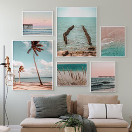 Discount paintings beaches Modern Ocean Print Coastal Wall Art Beach Decor Pastel Canvas Painting Sunset Bedroom Decor Large Posters and Prints Liv
