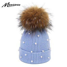 Discount real furs for Pearl Wool Beanies Women Real Natural Fur Pom Poms Fashion Pearl Knitted Hat Girls Female Beanie Cap Pompom Winter Hat for Women