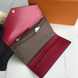 PORTEFEUILLE SARAH WALLET High Quality Women Classic Envelope-style Long Wallet Purse Credit Card With Gift Box M60708 on Sale