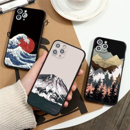 mountain apple 2021 - 3D Emboss Red Sun Mountain Pattern Phone Case iPhone 7 Plus 5 5S SE 2020 6 6s Plus 8 Plus Apple Phone Cover iPhone 11 Pr