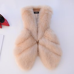 Wholesale laps tops for sale - Group buy 2020 new imitation fur vest female long section Korean stitching Lap top Slim winter Faux Fur Vest Women1