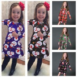 Wholesale cute lolita dresses for sale – halloween Baby Girs Dresses Autumn Winter Children Christmas Skirt Santa Claus Snowman Penguin Elk Bear Cute Printed Xmas Dress E101903