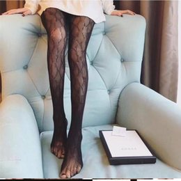 Wholesale Sexy Long Designer Stockings Women Fashion black white Thin Lace Mesh Tights Soft Breathable Hollow Letter Tight Pantyhose High quality