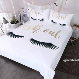 black gold bedding sets NZ - Eyelash Bedding Queen Gold and Black Cute Eyes Pattern Quilt Cover Set 3 Piece Funny Duvet Cover for Fashion Girls