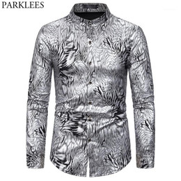 men snake pattern shirt UK - Silver Snake Pattern Shirt Men 2020 Sexy New Mandarin Collar Mens Dress Shirts Club Party Prom Stage Male Social Shirt Camisas1