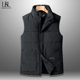 Wholesale male plus size down vest resale online - 2020 Autumn Winter New Men Cotton Vest Jacket Solid Color Sleeveless Down Waistcoat Jacket Male Casual Vest Coat Plus Size XL