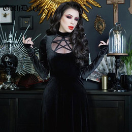 sexy s out dress 2020 - Goth Dark Vintage Velvet Gothic Dresses Elegant Black Slit Hem Sexy Long Sleeve Women Midi Dress Hollow Out Draped Eveni