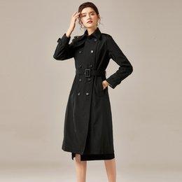 Опт женщины 2020 осенью новый темперамент нагрудного длинный рукав двубортной средней талии закрытие мода долгосрочного платье mj2644