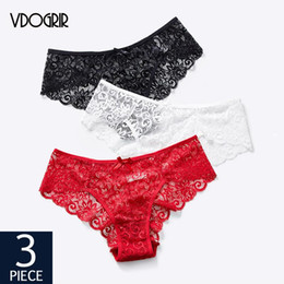 Discount bikini polyester panties bows VDOGRIR 3Pcs lot Seamless Women's Hollow Out Panties Set Underwear Breathable Thin Briefs With Bow Sexy Lace Panty Lady Lingerie