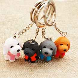key ring puppy Australia - Cartoon Puppy Tactic dog Buckle PVC Key Ring Pendant Creative Small Gifts Pet Teddy dog Couples Key Chain Bags Pendant Wholesale