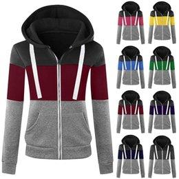 Wholesale hoody lady for sale – custom Women Sweatshirts Autumn Winter Hoodies Long Sleeve Hoody Ladies Zipper Pocket Patchwork Hooded Sweatshirt Female Outwear