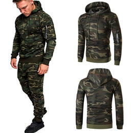 Wholesale mens sweat suits for sale - Group buy Casual Joggers Mens Tracksuits Pieces Sets Autumn Hooded Pants Camouflage Suit Gym Zipper Sportswear Sweat Suits Men s Clothes