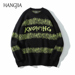 radio waves 2020 - Hip Hop Radio Wave Printed Sweaters Men Women Green Striped Pullovers Harajuku Fashionable Round Neck Knit Sweater Pullo