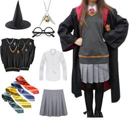 Wholesale school girl cosplay xxl resale online - Girls Women Hermione Granger Magic School Robe Skirt Uniform Halloween Costume Unisex Wizard Witch Cosplay