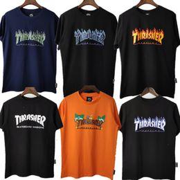 Wholesale t shirt thrasher online – design Tide brand Thrasher spring and summer new flame short sleeved T shirt Street skateboard men and women couple same style MM
