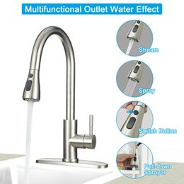 Kitchen Faucet Stainless Steel Sink Faucet Single Hole Brushed Pull Out Sprayer
