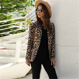 Wholesale double breasted jacket pattern resale online - Ladies Leopard Pattern Outerwear Fashion Trend Long Sleeve Cardigan Double Breasted Coats Designer Female Autumn Slim Casual Loose Jackets