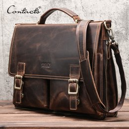 soft handbags office UK - CONTACT'S Men Briefcase Bag Crazy Horse Leather Shoulder Messenger Bags Famous Brand Business Office Handbag for 14 inch Laptop 201023
